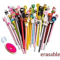 SENCOO 24 pcs Blue Erasable Pens Kawaii Cute Cartoon Gel Ink Pens Assorted Style Writing Pens for Birthday Present School Prize Student Gift Fun Girl Pens