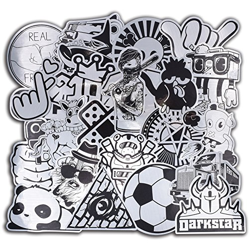 100 Pcs Metallic Black and White Stickers for Laptop Car Lug
