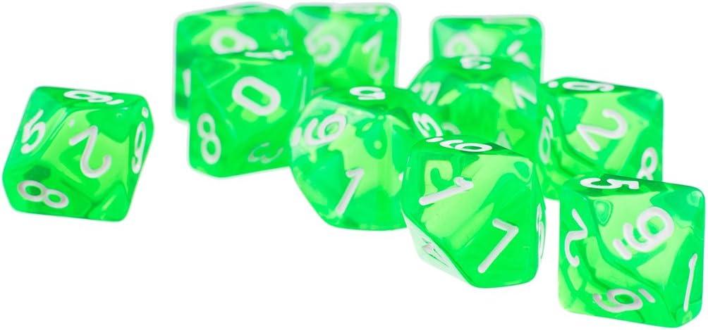 Baoblaze D10 Dados de Diez Lados para Juego de Mesa de Tablero Table Games Blanco y Negro 20 Pedazos