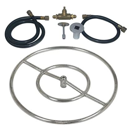 """Stainless Steel Fire Pit Natural Gas Ring Kit Size: 24"""" Diameter - Amazon.com : Stainless Steel Fire Pit Natural Gas Ring Kit Size: 24"""