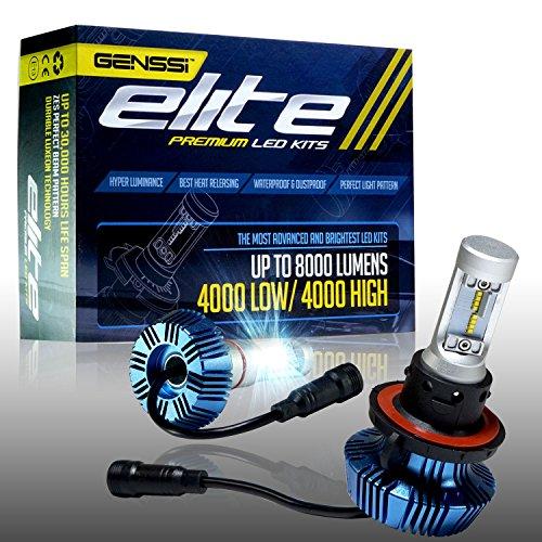 GENSSI Elite LED Headlight Bulbs Kit 6000K Super White Conversion H13 9008 (Lumen G7 Led Headlight Conversion Kit Installation)
