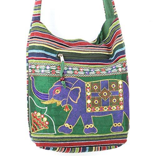 Caravan Bordado elefante lona cabestrillo bolso bandolera verde