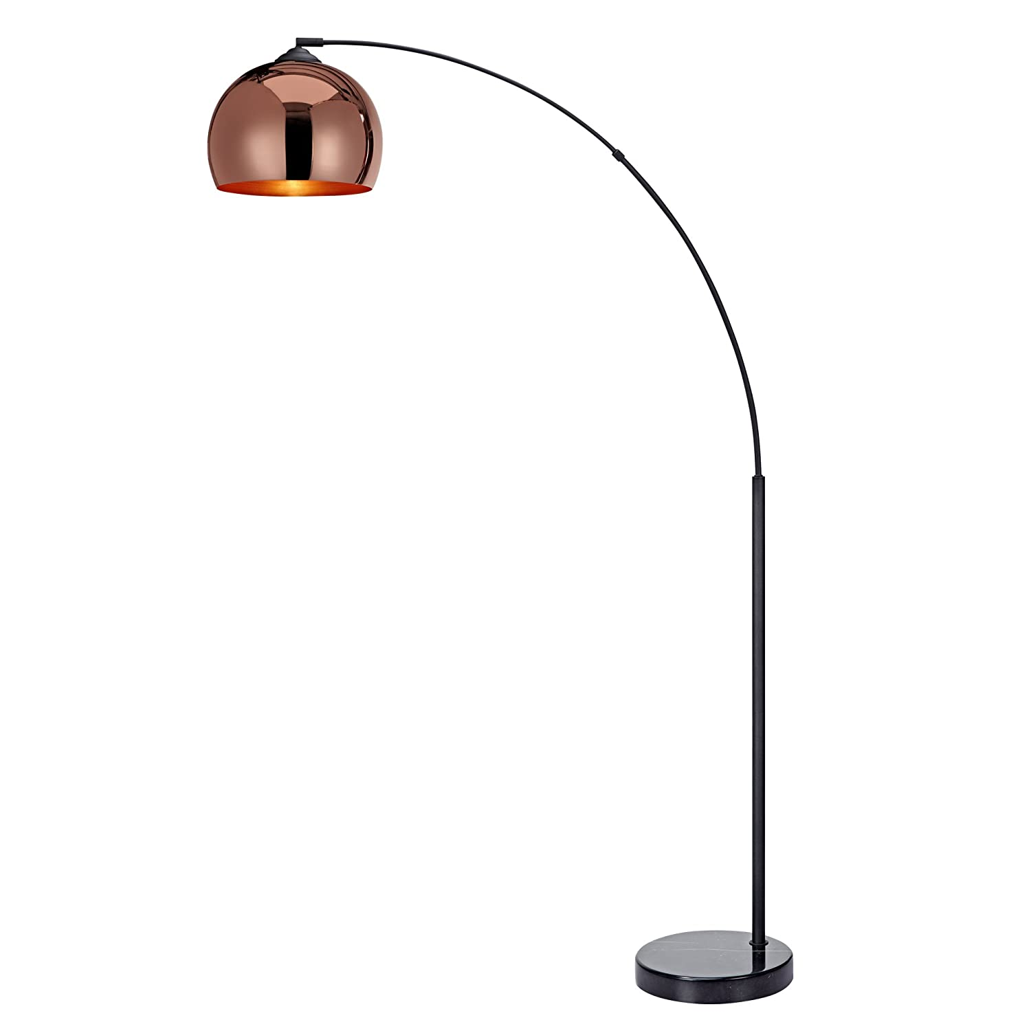 """Versanora - Arquer 66.93"""" Arc Floor Lamp with Rose Gold Finished Shade and Black Marble Base"""