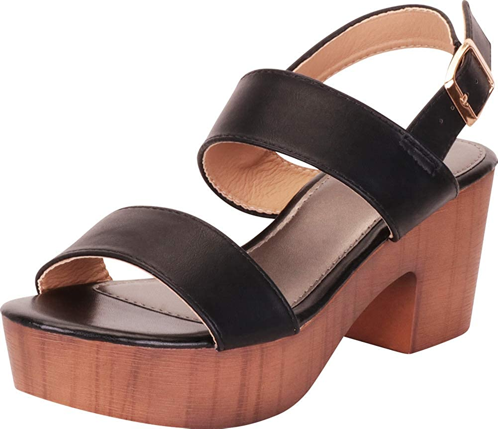 Black Pu Cambridge Select Women's Retro 70s Clog Chunky Platform Block Heel Sandal