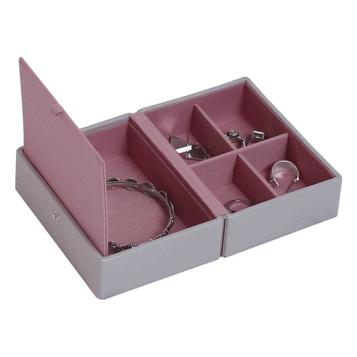 Stackers | Jewelry Box | dove gray & antique rose pink travel box stacker accessory