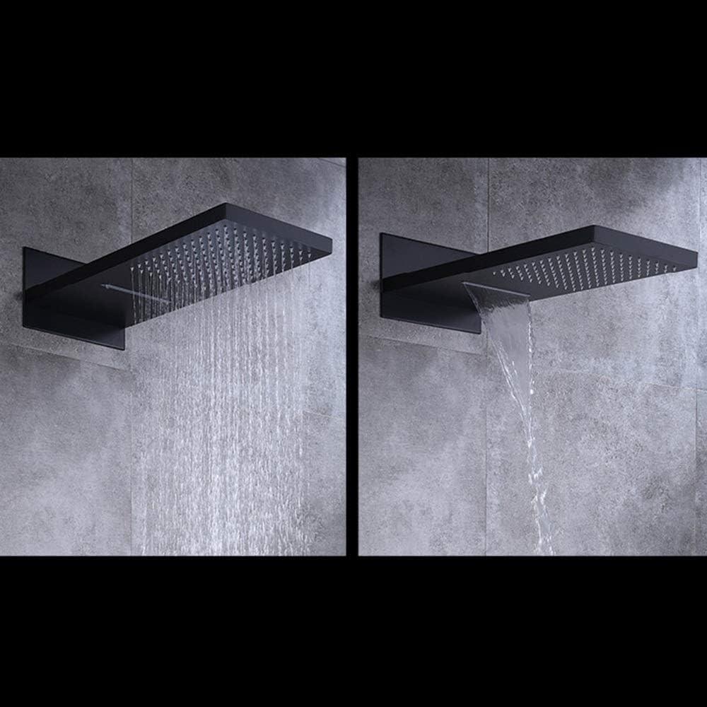 ETH Set De Ducha Cuadrado Negro Montado En La Pared, Sistema De Ducha con Rociador Superior De Grifo De Ducha De Cobre, 3 Tipos De Equipo Durable: Amazon.es: Hogar