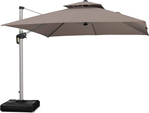 PURPLE LEAF 10 Feet Double Top Deluxe Sunbrella Square Patio Umbrella Offset Hanging Umbrella Cantilever Umbrella Outdoor Market Umbrella Garden Umbrella