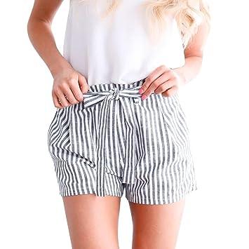 0e770de61876 URSING Damen Sommer Shorts Modisch Gestreift Drucken Hohe Taille Kurze  Hosen Hot Pants mit Gürtel Chic Sommershorts