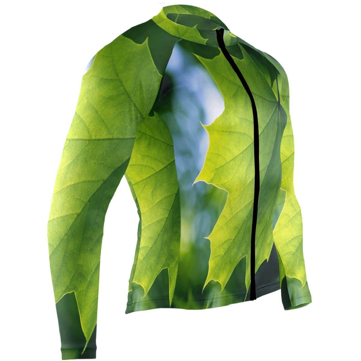 Green Maple Leaf Sunshine Mens Cycling Jersey Coat Full Sleeve Mountain Bike Apparel Outfit