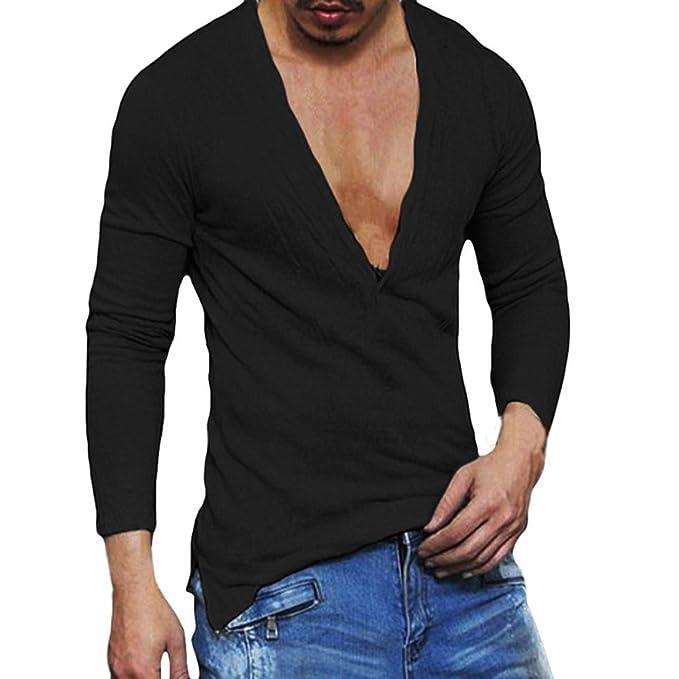 Herren Langarmshirts,Frashing Herren Casual Slim Fit Tiefem V-Ausschnitt  Sommer Langarm T-Shirt Grundlegende Shirt Herren Langarmshirt mit  V-Auschnitt Aus ... 6672601b3b