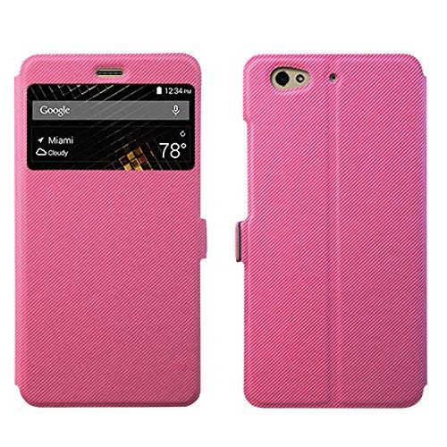 BLU Vivo 5 Case Cover ,View Window Full Protection Premium PU Leather with Kickstand For BLU Vivo 5 Smart Phone (rose) -  guoran