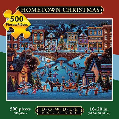 Dowdle Folk Art Jigsaw Puzzle - Hometown Christmas 500 -