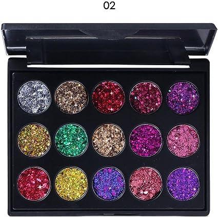 Sombra de Ojos Brillante, 15 Colores Sombra de Ojos Glitter Paleta de Maquillaje Profesional Paleta Ultra Maquillaje Cosmética del Color Caliente: Amazon.es: Belleza