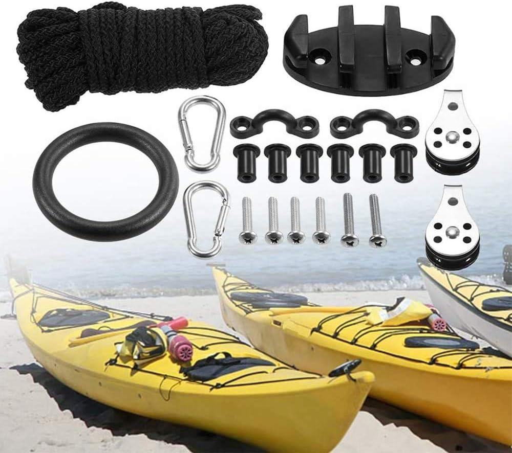 ISURE MARINE Kayak Canoe Anchor Trolley Kit Eyes Wellnuts Screws Kayak Accessories Zig Zag Cleat Rigging Ring Pulleys DIY Boat 30 Feet Rope