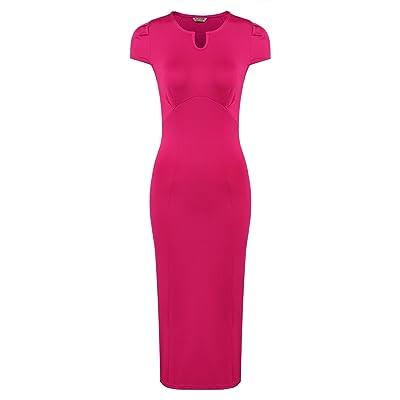 ACEVOG Damen Elegant Etuikleid Festlich Kleid Midi Sommer Stretch Kleid Eng Business Party Kurzarm V-Ausschnitt Abendkleider