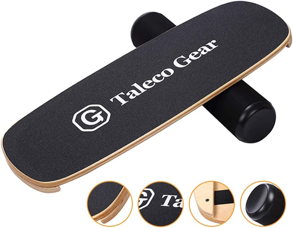 Core Training Equipment for Skiing and Surfing Training Taleco Gear Balance Board Professional Wooden Wobble Board for Exercise Training and Premium Fitness Stability
