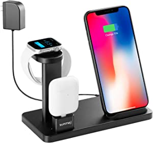 XUNMEJ Wireless Charger, Apple Watch Stand for iPhone Xs Max Xs XR X 8 8 Plus, 3 in 1 Aluminum Fast Wireless Charging Stand Station Dock One Cable for Apple Watch Series 4 3 2 1 AirPods