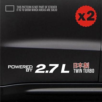 2.7 twin turbo car body door side sticker decal jdm euro 16 inch WHITE 370z colt rally stance s80 sonoma wrx aveo zenki supercharged drift impreza celica ...