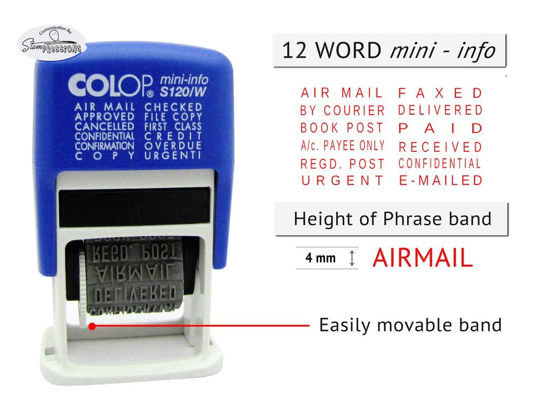 Timbro autoinchiostrante in gomma Blue Ink Air Mail