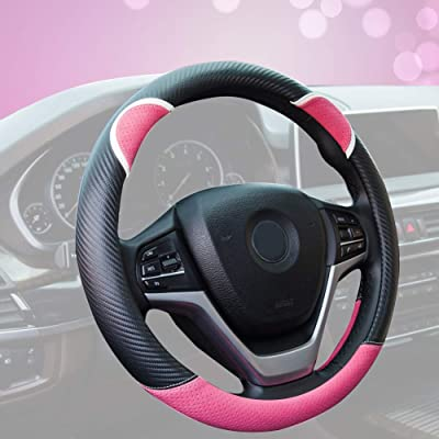 Alusbell Cute Carbon Fiber Steering Wheel Cover Synthetic Leather Auto Car Steering Wheel Cover for Women Universal Fit 15 Inch (Hot Pink): Automotive