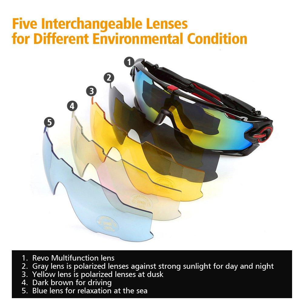 LeaningTech Fahrrad Brille Sonnenbrille Polarisiert Radbrille ...