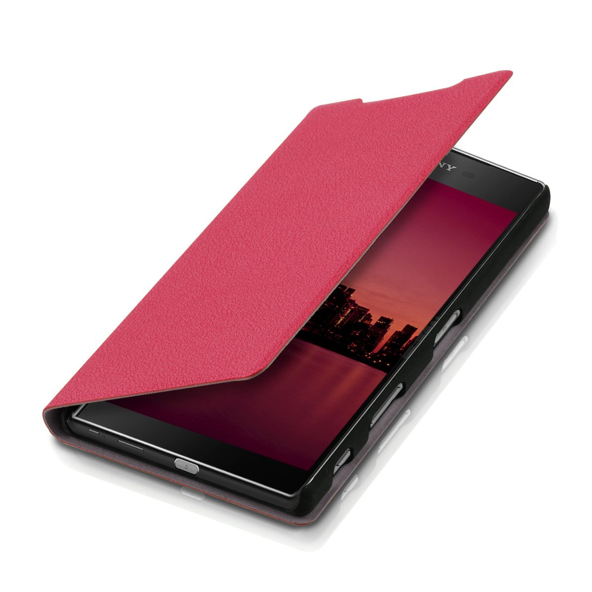 brand new b3533 69e41 kwmobile Flip Case for Sony Xperia Z5 Premium - Book Style Protective Front  Flip Cover Smartphone Case - Dark Pink