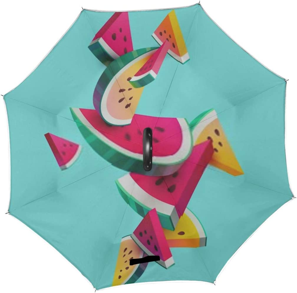 Double Layer Inverted Inverted Umbrella Is Light And Sturdy Fresh Sliced Watermelon Fruit On Bright Reverse Umbrella And Windproof Umbrella Edge Nigh