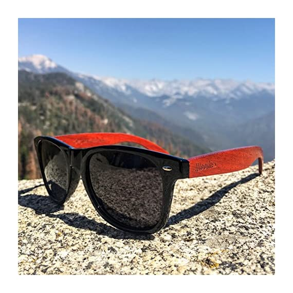 Woodies Rose Wood Sunglasses with Polarized Lenses 5 BONUS ITEMS: FREE Carrying Case, Lens Cloth, and Wood Guitar Pick BUY WITH CONFIDENCE: 30-Day Money Back Guarantee