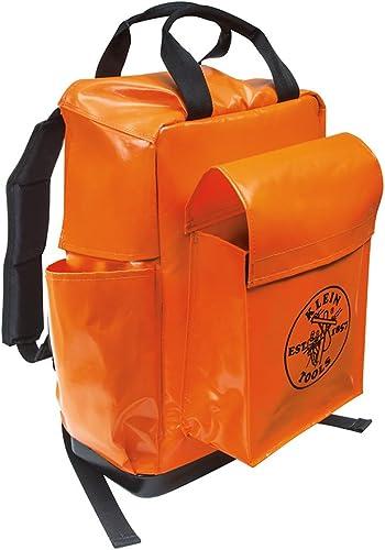 Klein Tools 5185ORA Tool Bag Backpack, Lineman Backpack, Adjustable Padded Shoulder Straps, Double-Stitched Bottom with Drain Holes, Orange