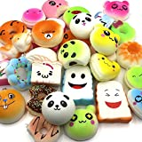 REAMTOP 20pcs Different Kawaii Jumbo Medium Mini Soft Squishy Food Squishies with Key Chain Strap