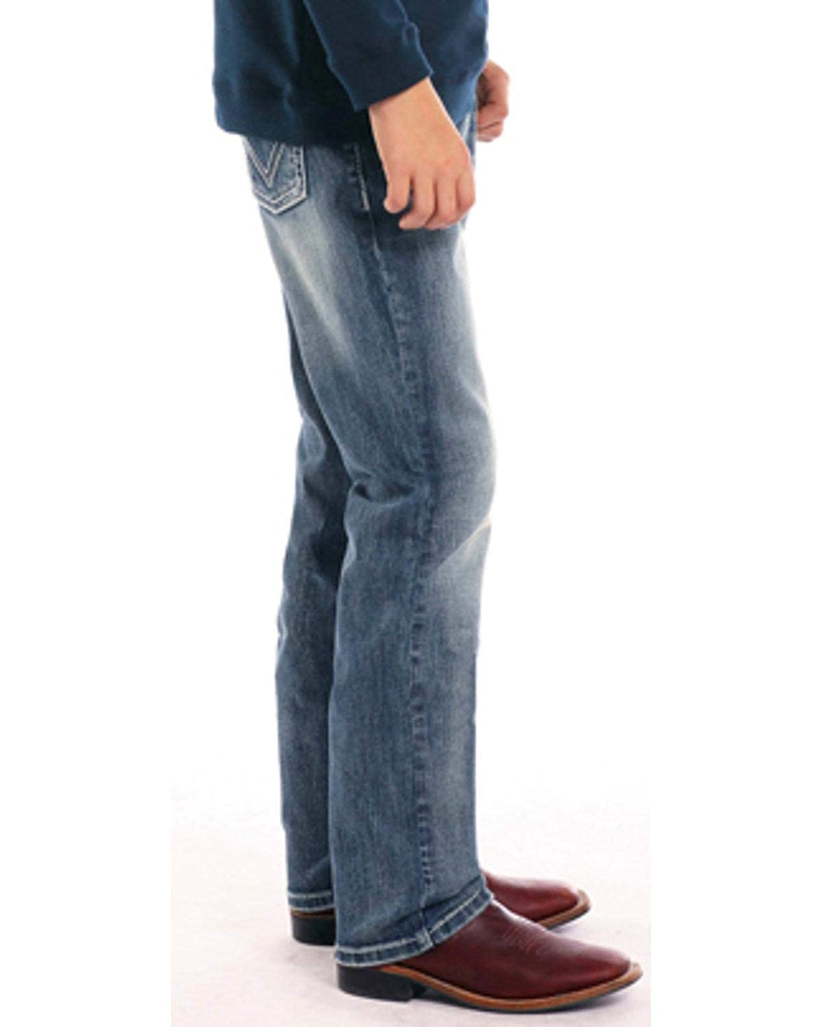 Rock /& Roll Cowboy Boys and Double V Embroidered Straight Leg Jeans