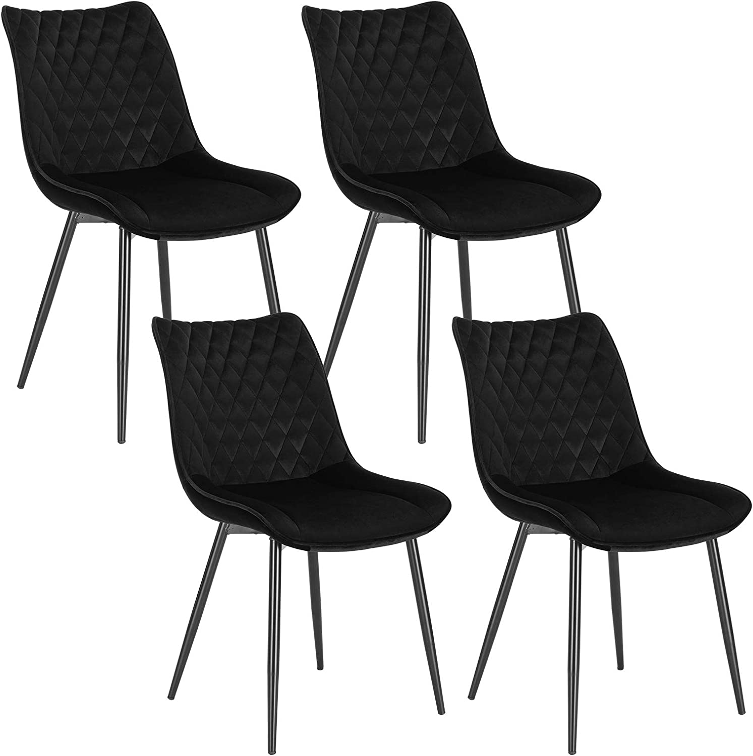 WOLTU Dining Chairs Set of 4 pcs Kitchen Counter Chairs Lounge Leisure Living Room Corner Chairs Black Velvet Reception Chairs with Backrest and Padded Seat