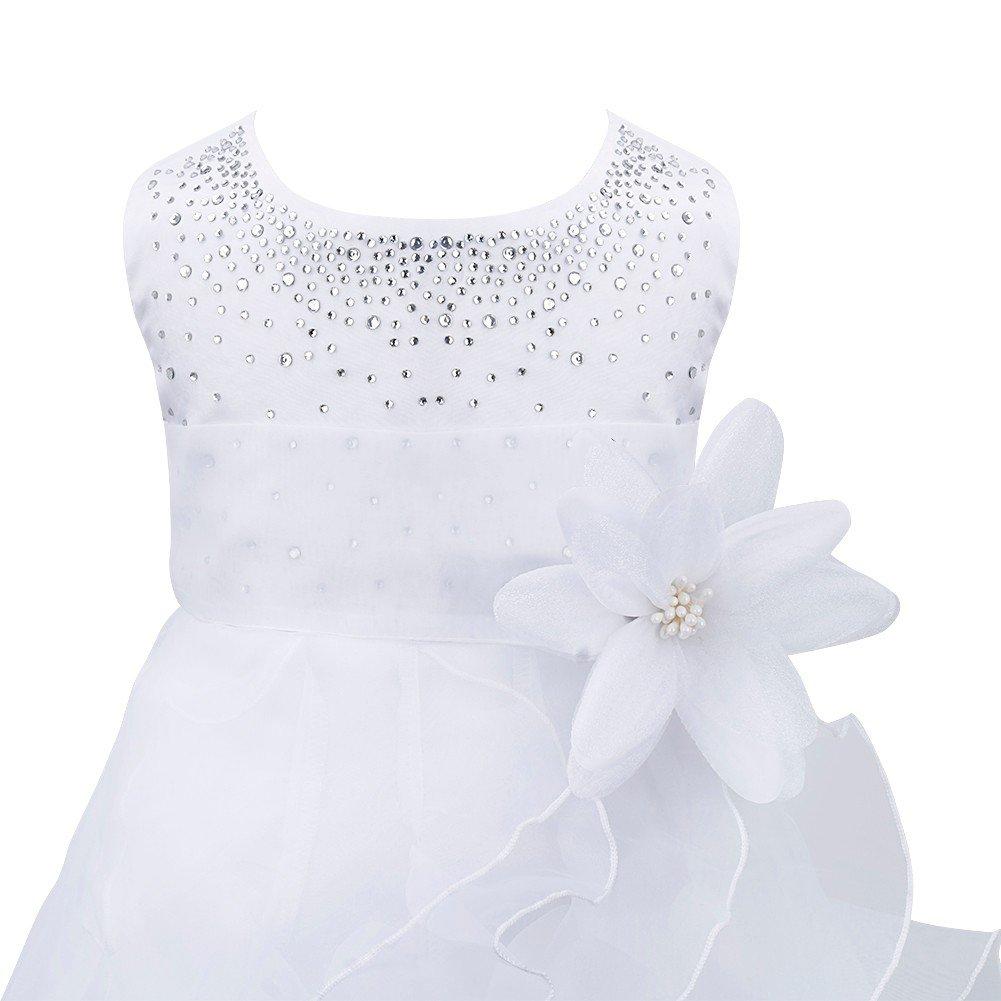 Choyee Freebily Baby Girls Rhinestones Ruffle Princess Wedding Pageant Party Birthday Tutu Dress Baptism Christening Gown