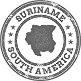 Suriname Map South America Grunge Rubber Stamp Home Decal Vinyl Sticker 12'' X 12''
