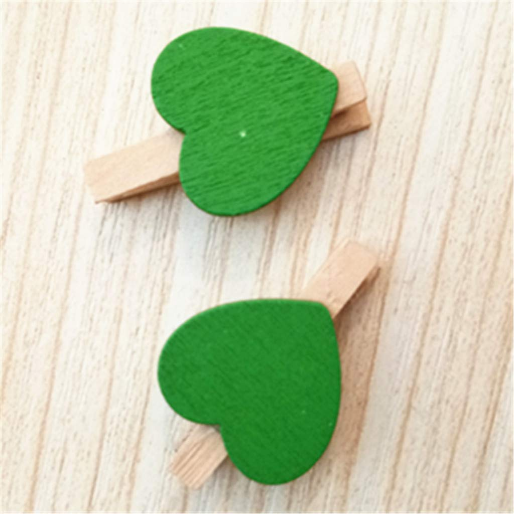 Aobiny 10PCS Mini Love Heart Colored Wooden Heart Clothespins Photo Craft Clips for Wedding Party Decor - Wooden Clothes Photo Paper Peg Pin Clothespin Craft Clips (Green)
