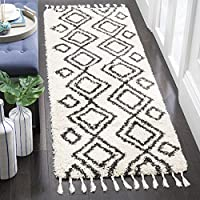 Safavieh Moroccan Fringe Shag Collection MFG247B Cream and Charcoal Grey Runner Rug (23 x 7)
