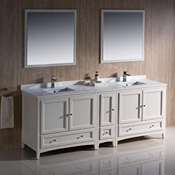 Fresca Oxford 84 Antique White Traditional Double Sink Bathroom