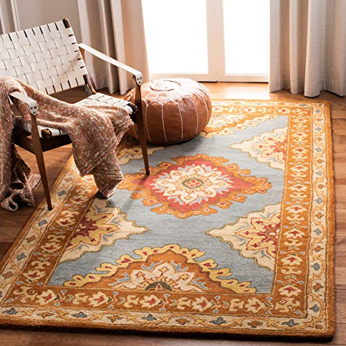 Safavieh Heritage Collection HG408A Traditional Blue and Rust Area Rug 4 x 6