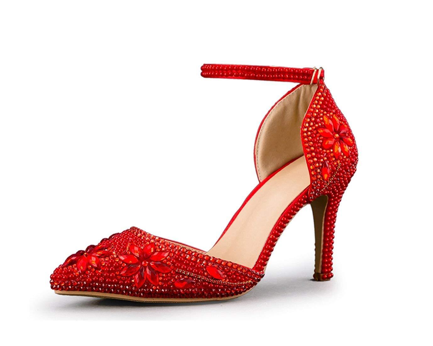 Qiusa Damen Schnalle handgefertigt handgefertigt handgefertigt Spitz Kristalle Hochzeit Schuhe (Farbe   rot-9cm Heel Größe   4 UK) d625c5