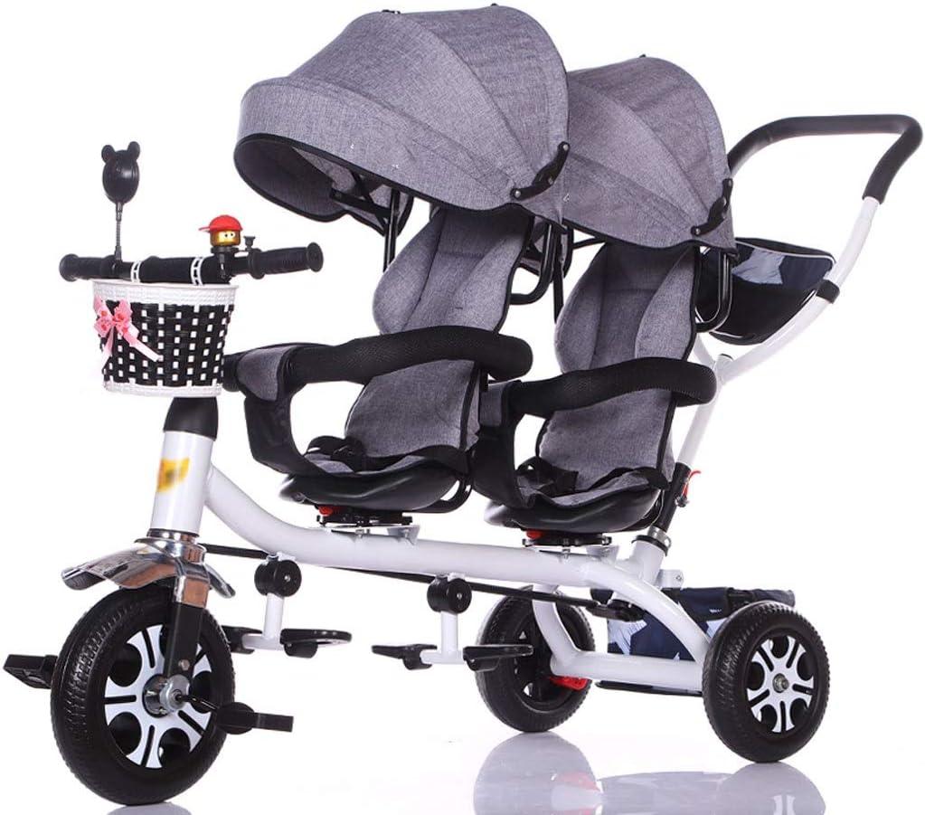 Jiji Sillas de Paseo Carro de bebé Triciclo Doble for niños Carro de Bicicleta Doble for bebé Carrito Grande Cochecito extendido Cesta de Almacenamiento de toldo Cochecito de bebé (Color : D)