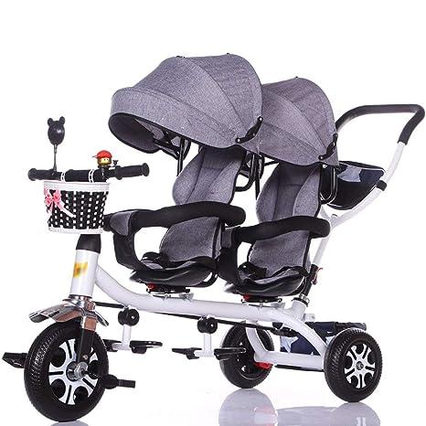 Jixi Carro de bebé Triciclo Doble for niños Carro de ...