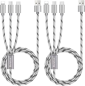 2Pack 5ft Multi Charging Cable, Bolatus Multi Charger Cable Nylon 3 in 1 Charging Cable Universal Charger Cord Adapter Type C Micro USB Connectors Compatible with Cell Phone Tablets More [Upgraded]