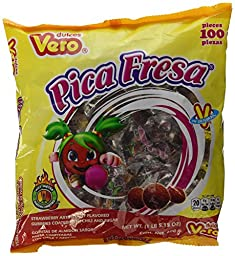 Vero Pica Fresa Chili Strawberry Flavor Gummy Mexican Candy,100 Pieces,1 LB,5.15 OZ