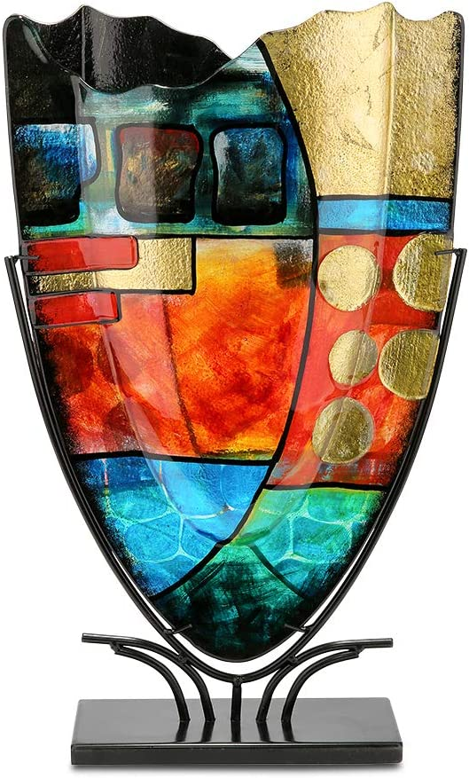 GILDE GLAS art Nebra Vase Design fabriqu/é /à la Main en Verre Hauteur 57 cm