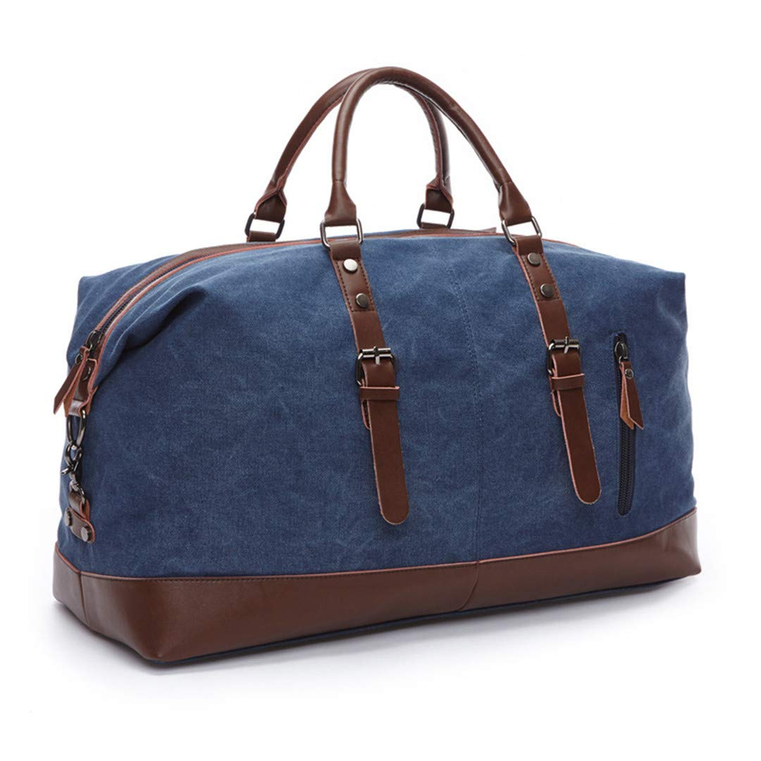 Men Travel Bags H Luggage Bags Canvas Leather Travel Bags Shoulder Bags Large Capacity Weekend Overnight Blue 8655 Medium