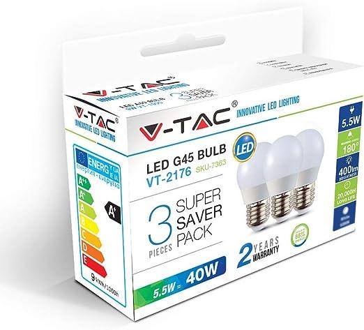 V-tac VT-2176 3-pack LED lampen kogel - E27 - 5.5W - 470 Lm ...