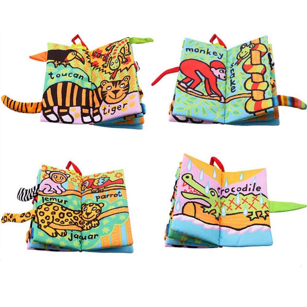 Nouveau Jollybaby Tail Cloth Book Livre de la queue en tissu Animal Jouet