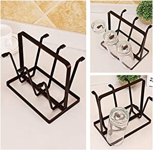 IMS Cups Mugs Holder Drying Rack Organizer Shelf Metal Storage Rack Black Anti-Rust Rack with Non-Slip Silicone for Beer Cup Wine Glasses No Drilling Tableware Rack for Office Kitchen Bathroom 6 Cups