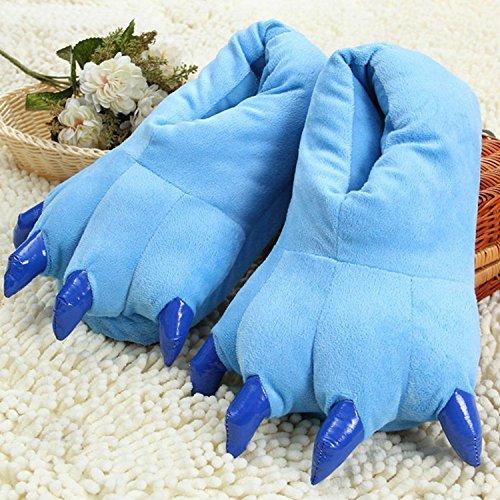 Houda Unisex Soft Plush Home Slippers Animal Costume Paw Claw Shoes Blue uIiAZyTebm