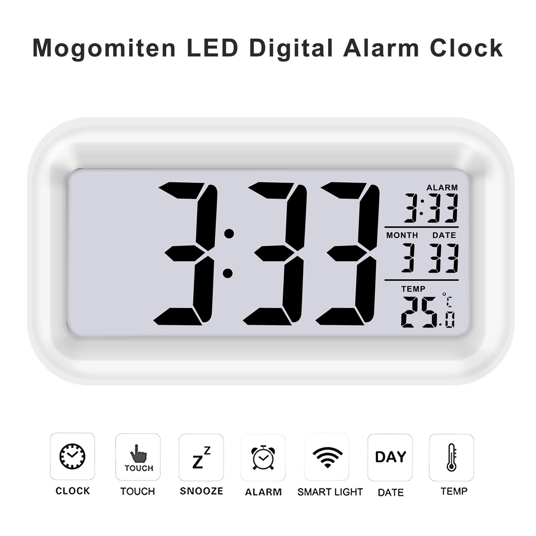 Mogomiten Reloj Despertador Digital, Reloj Despertador Inteligente con Alarma para Niños, Reloj Repeticion activada por Snooze, Sensor de luz, ...